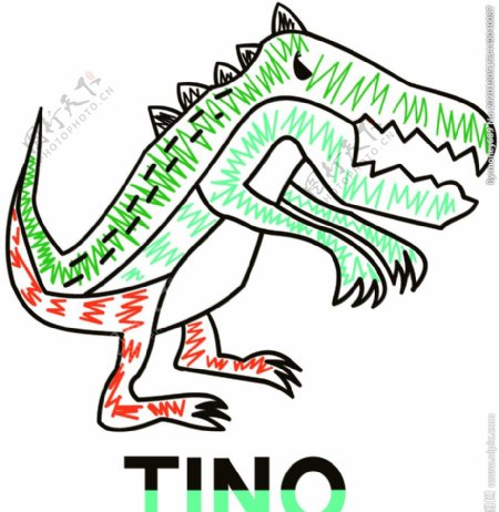 恐龙线条印花图案裁片图片