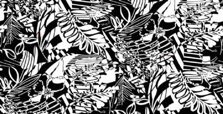 几何图形热带植物花卉单色印花图片