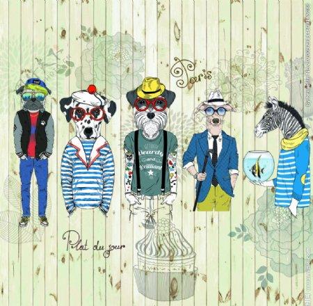 墙体彩绘动物人身另类装饰图图片