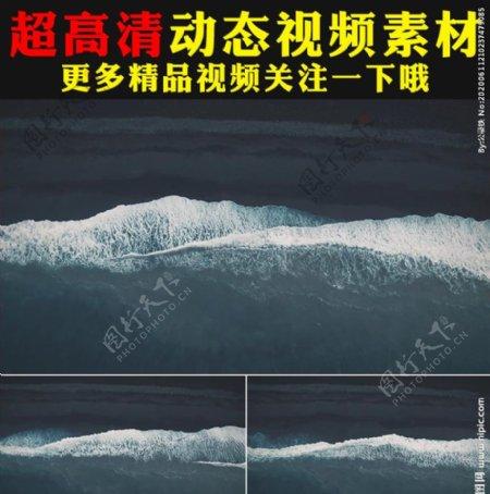 海滩白色浪花海水荡漾视频素材