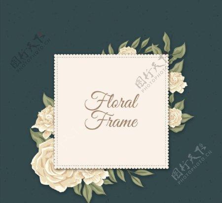 白色山茶花框架图片