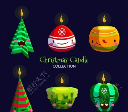 水彩绘圣诞蜡烛图片