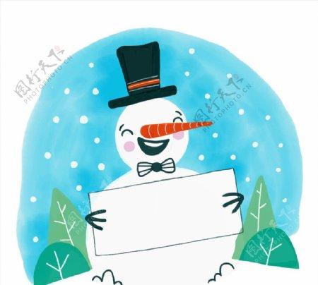 拿空白纸板的笑脸雪人图片