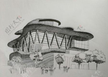 云门舞集建筑钢笔画写生图片