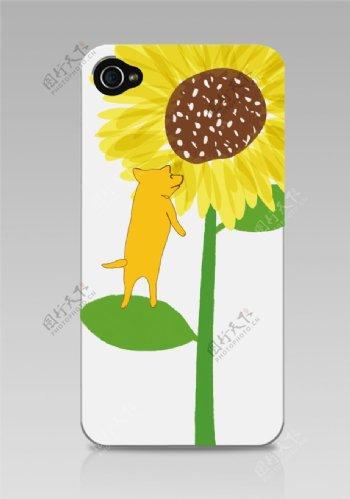 爱上向日葵的小狗手机壳涂鸦图片