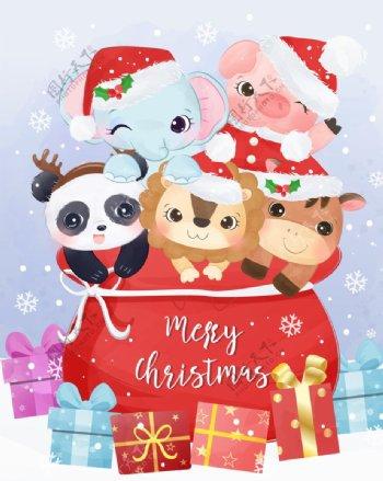 圣诞可爱动物图片