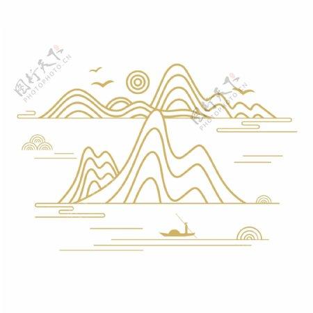 矢量中国风山纹云纹中式山水国潮图片