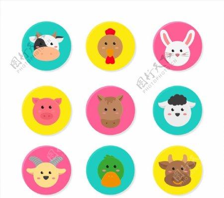 圆形可爱动物头像图片