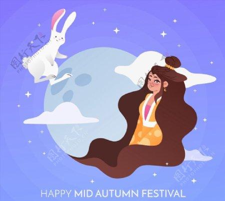 中秋节白兔和嫦娥图片