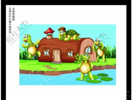 乌龟背景卡通矢量AI源文件图片