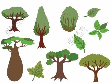 卡通大树树叶图片