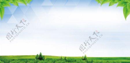 蓝天白云绿草背景展版图片