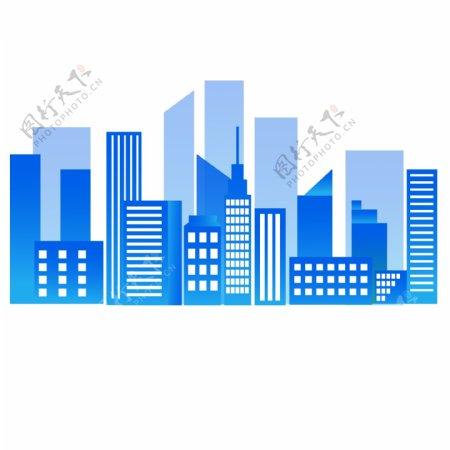 蓝色渐变建筑图片