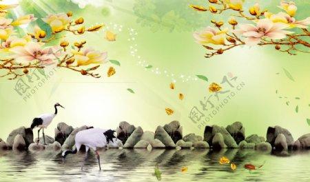 鎏金栀子花郁金香丹顶鹤鹅卵石图片