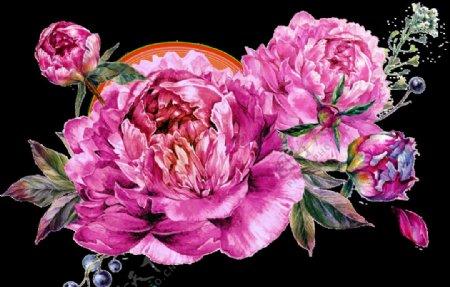 PNG透明底水彩花图片