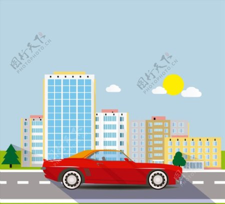 红色轿车与楼群图片