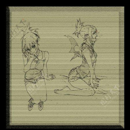 CG素描女孩图片