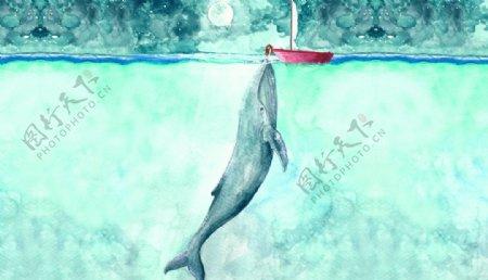 小船钓鲸鱼儿童绘画装饰图图片
