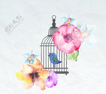水彩花卉和鸟笼图片