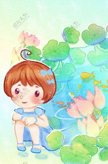 夏季卡通女孩插画背景海报素材图片