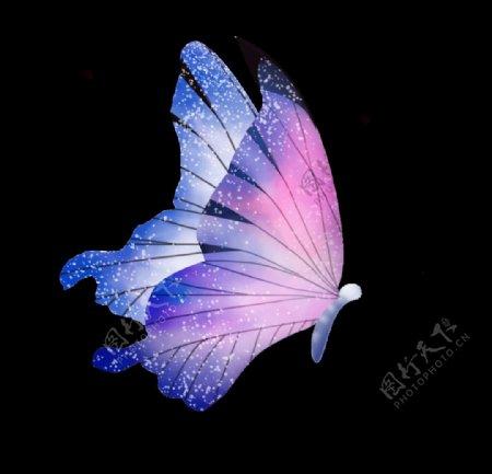 蝴蝶紫红翅膀水墨透明PNG明艳图片