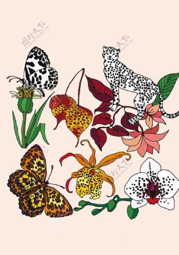 热带野生动植物印花图案图片