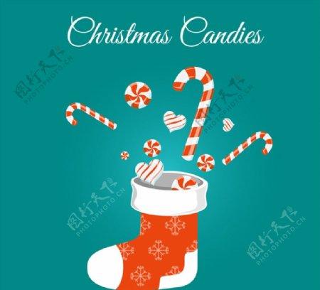 圣诞袜和糖果图片