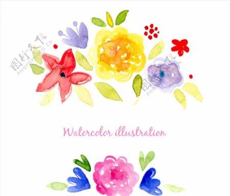 清新水彩花卉矢量图片