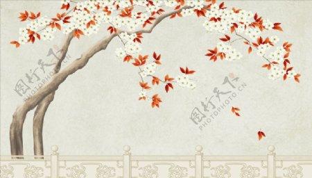 花鸟画枫叶落叶背景墙图片