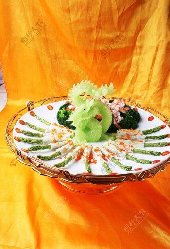 淮扬菜碧绿珊瑚紫龙袍图片