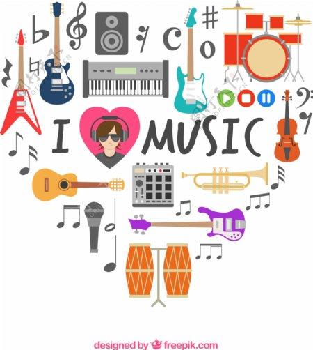 音乐元素组合爱心图片
