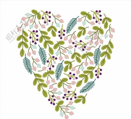 树叶浆果组合爱心图片