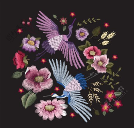 鹤绣花图片