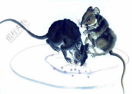 老鼠鼠年水墨复古传统背景素材图片