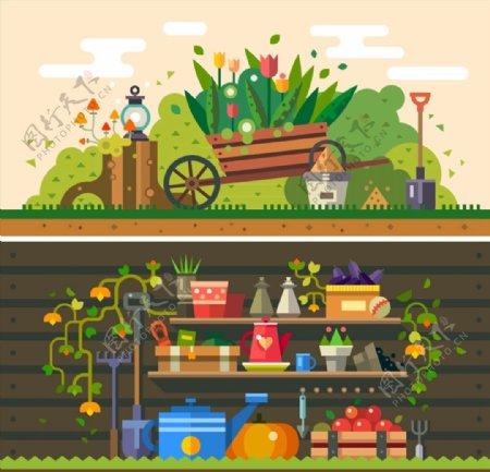 花园风景和工具图片
