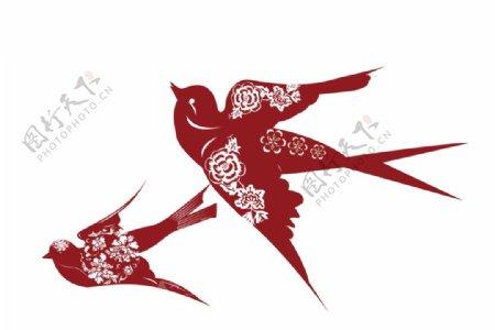 新年喜庆红喜鹊燕子矢量图片