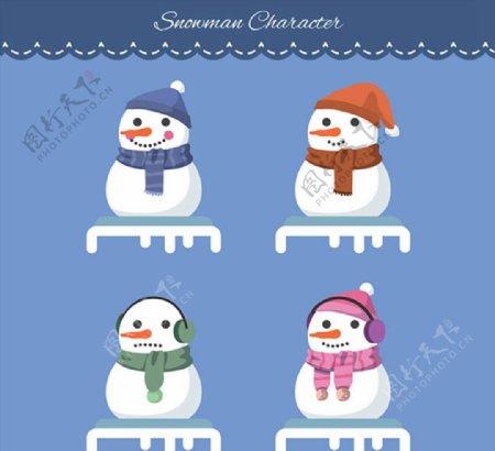笑脸圣诞雪人图片