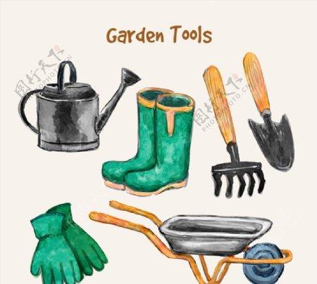 水彩绘花园工具图片