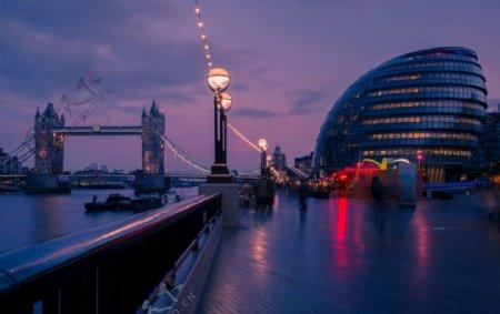 日落市政府塔桥伦敦城市图片