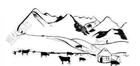 山水牛羊简笔画图片