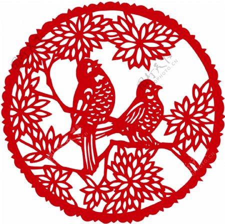 剪纸喜鹊传统文化海报素材图片