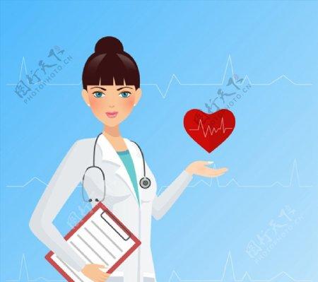女医生与心电图图片