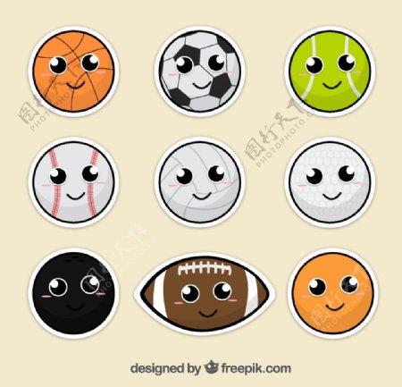 卡通笑脸球类图片