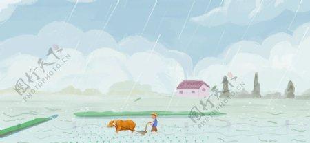 卡通背景春天播种秋收图片