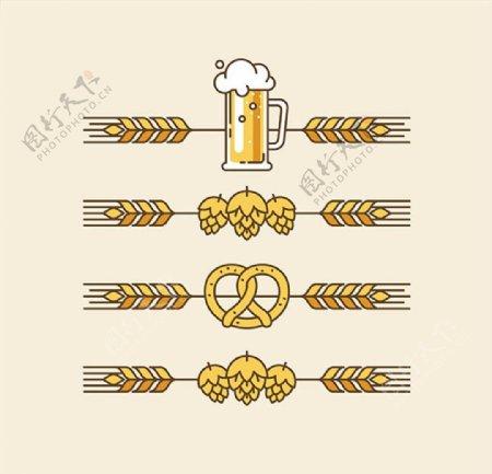 小麦和酒杯图标图片