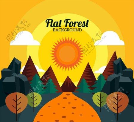 森林日落风景图片