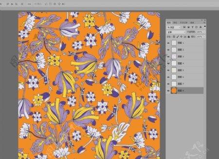 清新民族线条手绘花卉碎花图片