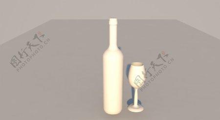 3D建模C4D白模酒瓶酒杯立体图片