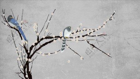 花鸟画梅花小鸟背景墙图片