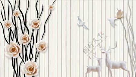 浮雕花鸽子鹿背景墙图片